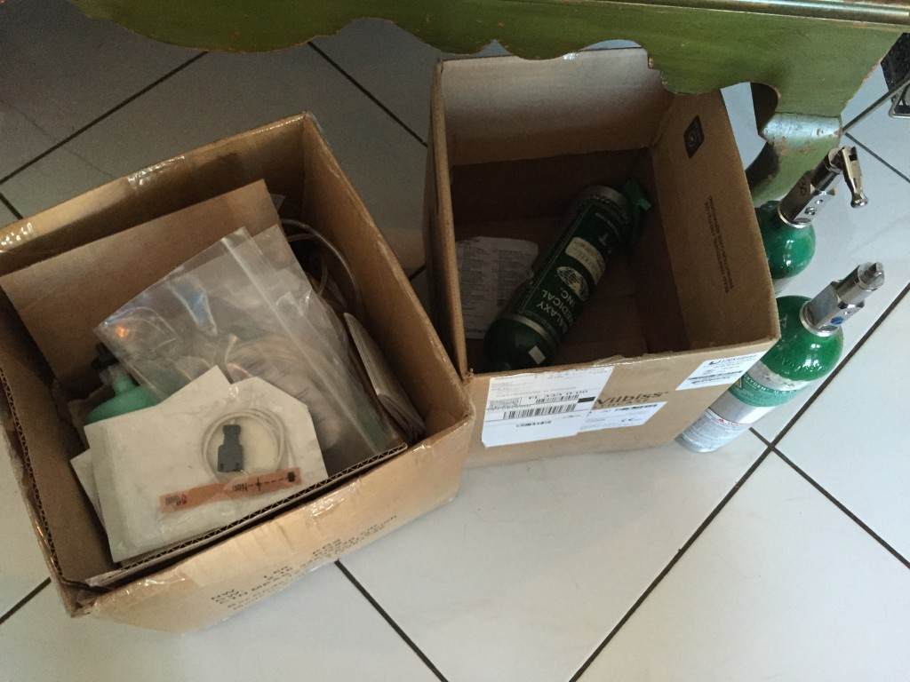 Cannula, tubing and nebulizer supplies and travel oxygen tanks